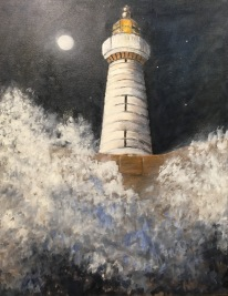 "'The Lighthouse' (Donaghadee). 28 x 36"" Oil on canvas with painted edge."