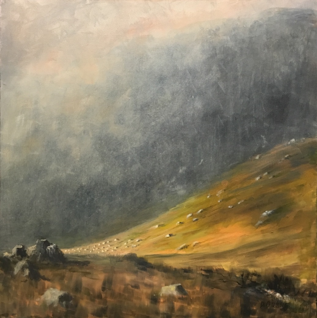 """'The Poisoned Glen'. 24 x 24"""" Oil on box cavas with painted edge."""
