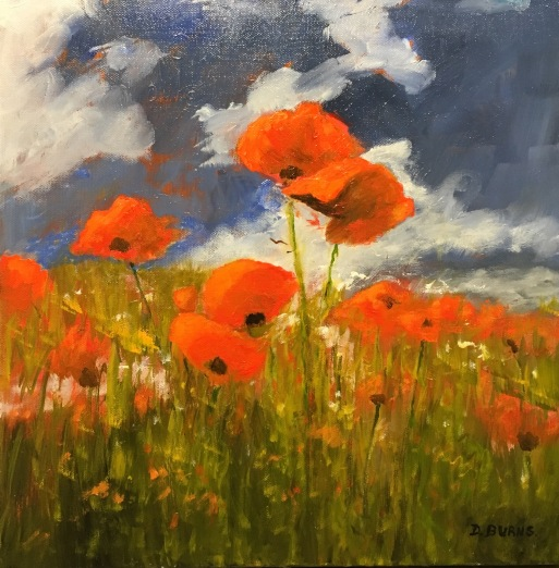 "'I Love Poppies'. 16 x 16"" Oil on box canvas with painted edge."