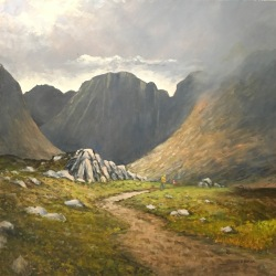 "'Into the Poisoned Glen'. 36 x 36"" Oil on box canvas with painted edge."