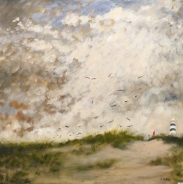 """'Storm warning'. 30 x 30"""" Oil on box canvas with painted edge."""