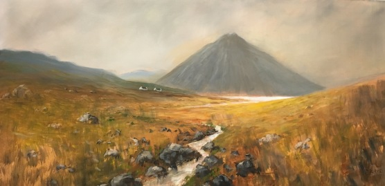 """'Where are the Sheep?'. 48 x 24"""" Oil on box canvas with painted edge."""