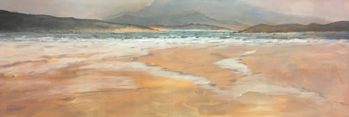 """'Across to Muckish' 52 x 18"""" Oil on canvas with painted edge."""