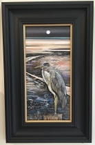 'Heron by moonlight' by Glynis R. Burns. Oil. £360.