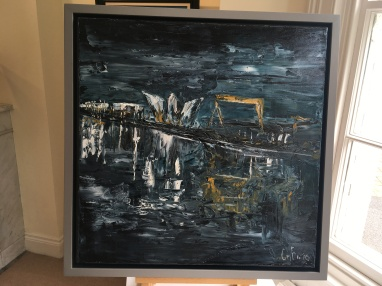 SOLD: 'Belfast lough' by Claire Burns. Oil. £310.