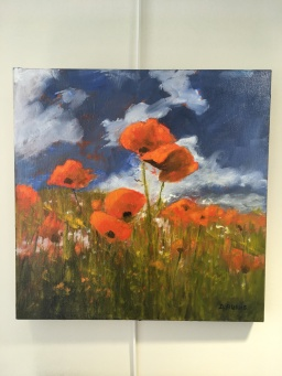 'I love poppies' by Deirdre Burns. Oil. £245.