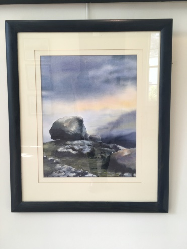 SOLD: 'Erratic at Gweedore' by Alison Burns. Watercolour. £350.